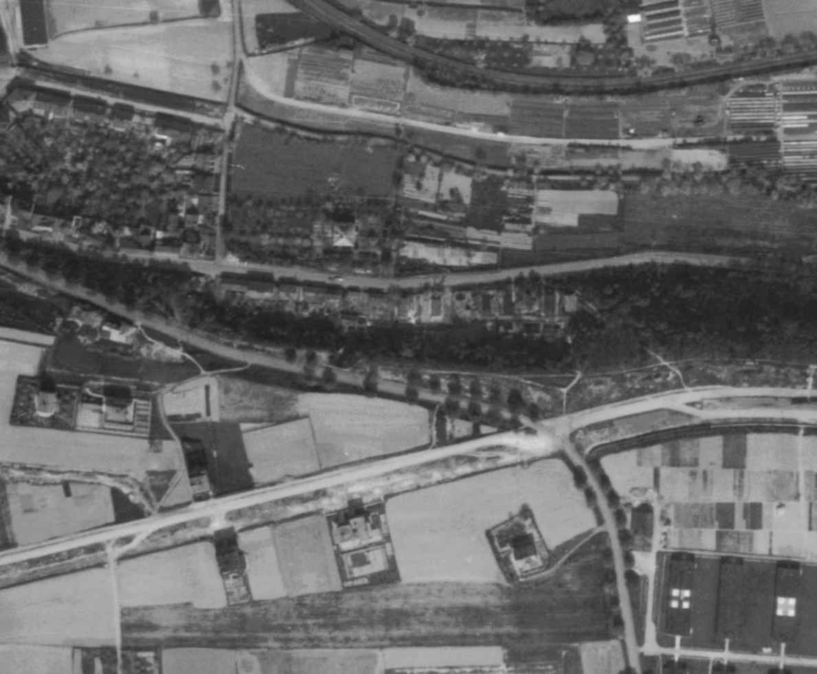 nouzova-kolonie-piskovna-veleslavin-letecky-snimek-1945